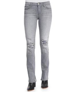Mid-Rise Rail Distressed Denim Jeans