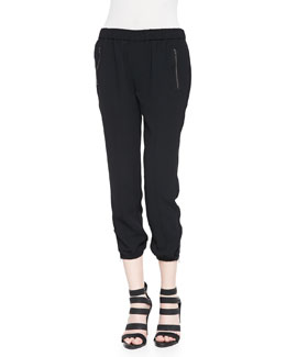 Charlet Zipper-Cuff Jogger Pants