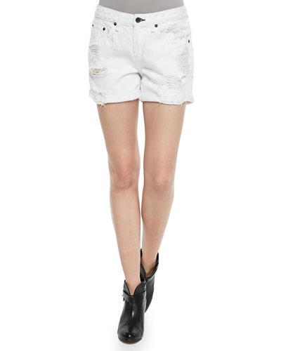 The Boyfriend Distressed Rolled-Cuffs Shorts, Bright White Rebel