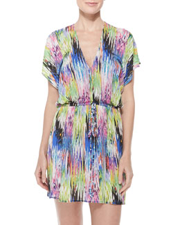 Palmones Marble-Print Coverup Dress