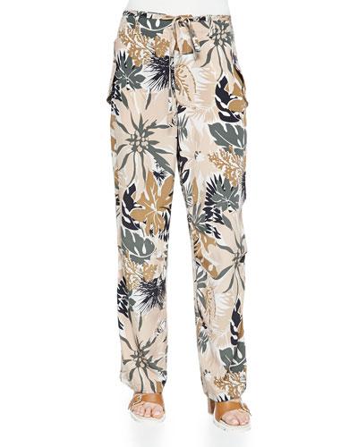 Victoria Tie-Waist Floral-Print Pants