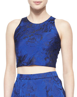 Kesten Floral Brocade Crop Top, Blue