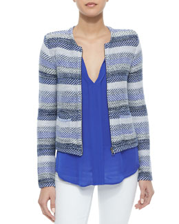 Jacolyn B Striped Jacquard Jacket