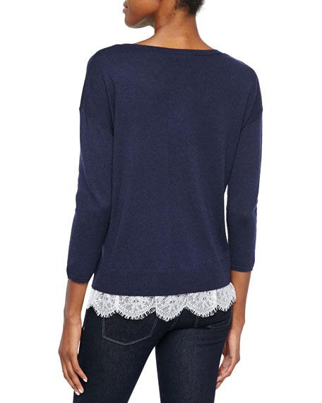 Hilano Lace-Hem Knit Sweater