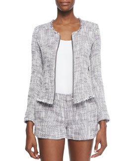 Collis Fringe-Trim Tweed Jacket