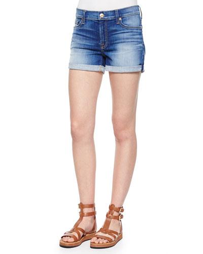 Roll Up Denim Shorts, Brilliant Azure