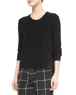Zip-Hem Knit Sweater, Black