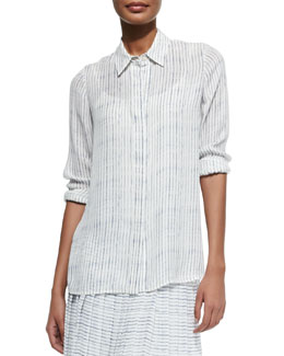 Striped Button-Front Blouse