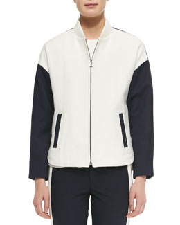 Colorblock Knit Bomber Jacket