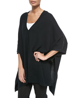 Cashmere V-Neck Leather-Trim Poncho