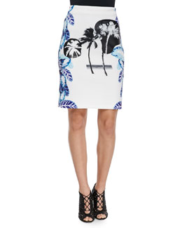 Pelagic Leaf-Print Pencil Skirt