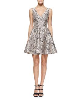 Leaf-Print Flared Jacquard Dress