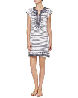 Short-Sleeve Embroidered Striped Dress
