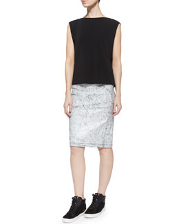 Crackled Leather Lambskin Skirt