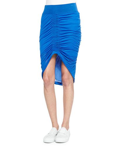 Film-Weight Ruched Slub Skirt