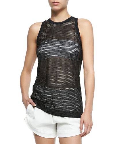 Sleeveless Mesh Lambskin Leather Top