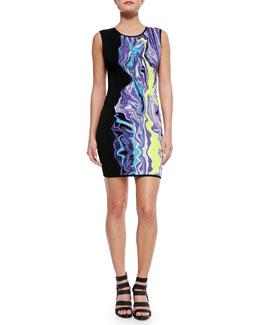 Sleeveless Dress W/ Partial Print