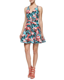 Abigale Flamingo-Print Twill Dress