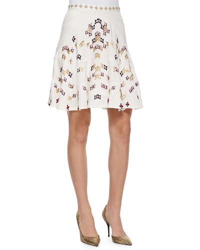 Amelia Embroidered A-Line Skirt