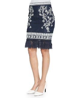 Helen Embroidered Denim Pencil Skirt