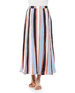 Koa Pleated Striped Chiffon Skirt