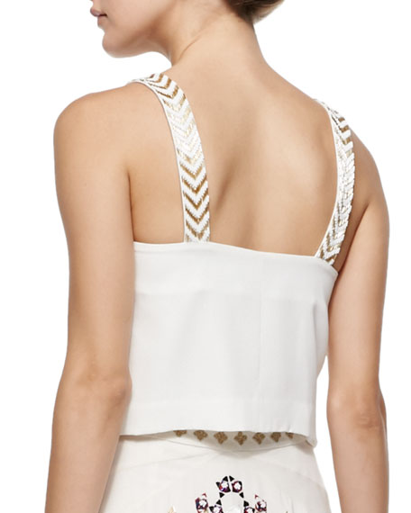 Charlotte Embroidered Cropped Tank