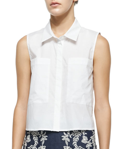 Cisco Sleeveless Point-Collar Blouse