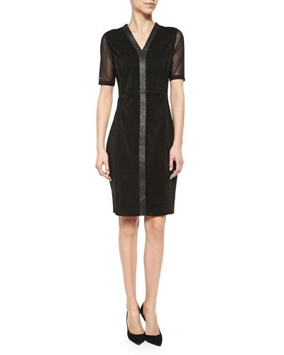 Eleanor Mesh & Leather Sheath Dress