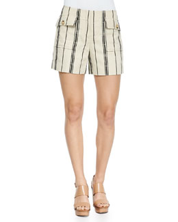 Edna Striped Flap-Pocket Shorts