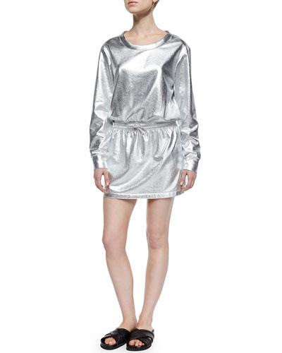Boyfriend Sweaterdress, Silver Foil