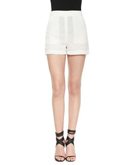 Check-Piped High-Waist Shorts, Cream