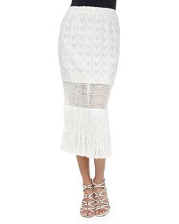 Lightweight Fringe Wrap Skirt, Cream