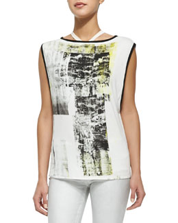 Paint-Print Sleeveless Jersey Top