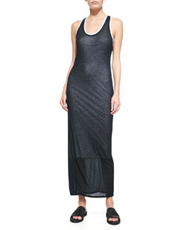 Devotee Contrast-Trim Slub Maxi Dress