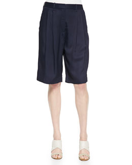 Sally Long Pleated-Front Shorts, Dark Navy