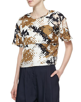 Remsen Silk Camo-Print Crop Top