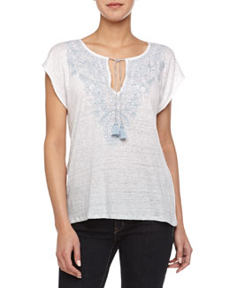 Margis Embroidered Slub Top