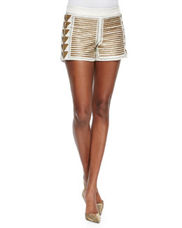 Beaded Back-Zip Leather Shorts
