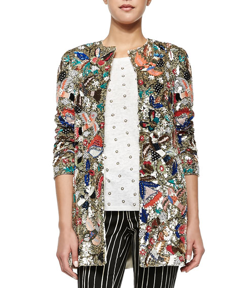 Rory Beaded Sequined Collarless Jacket