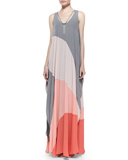 Sleeveless Colorblock Gown W/ Hardware