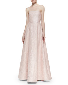 Strapless Croc-Embossed A-Line Gown