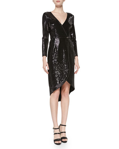 Long-Sleeve Sequined Wrap Dress