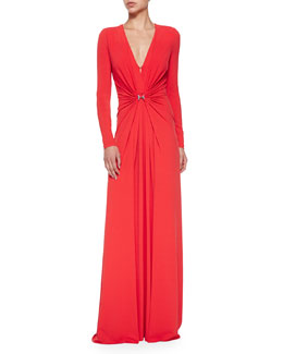 Long-Sleeve Gown W/ Gathered Front