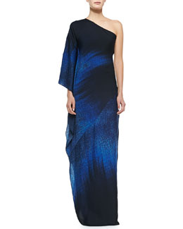 One-Shoulder Printed Ombre Gown