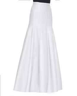 Long Pleated Trumpet Skirt, Vapor