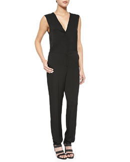 Sibby Sleeveless V-Neck Georgette Jumpsuit