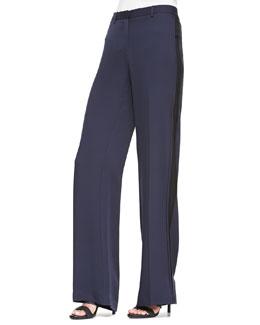 Hariya Tuxedo-Stripe Georgette Pants