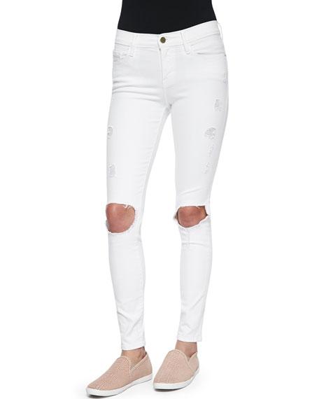 FRAME DENIM Le Color Destroy Skinny-Fit Jeans