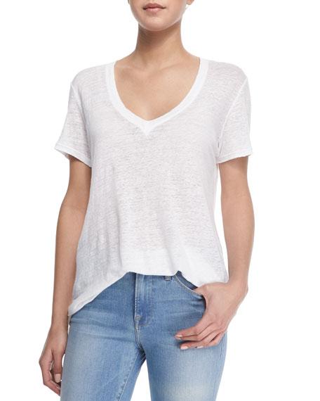 Le Boyfriend Linen V-Neck T-Shirt