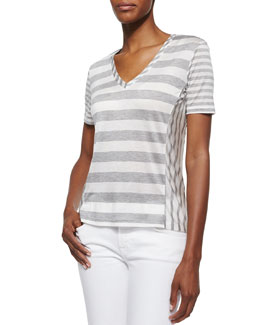 Michelle V-Neck Jersey Tee, Heather Gray/White